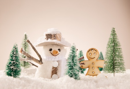 frosty: Christmas background with snowman and falling snow.