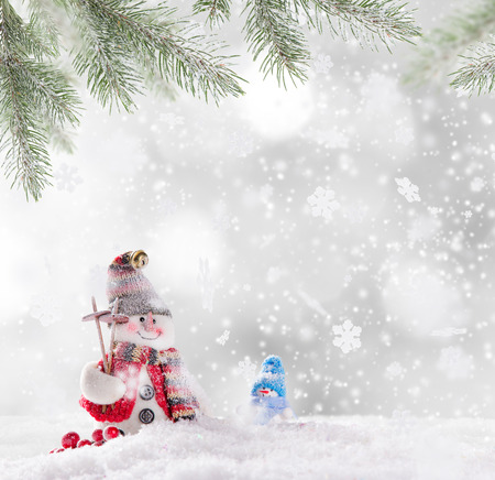 christmas backgrounds: Christmas background with snowman and falling snow.
