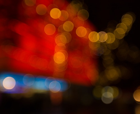 night lights: Abstract night traffic bokeh background with defocused lights. Stock Photo