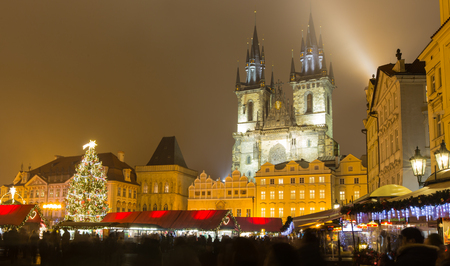 prague: The Old Town Square in Prague at winter night, Christmas time.