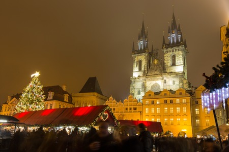 winter theater: The Old Town Square in Prague at winter night, Christmas time.