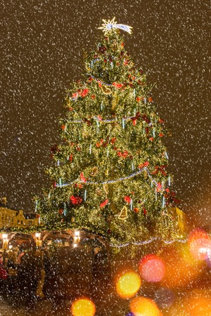 old time: Christmas tree in The Old Town Square in Prague at winter night, Christmas time. Stock Photo