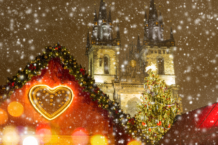 old time: The Old Town Square in Prague at winter night, Christmas time.