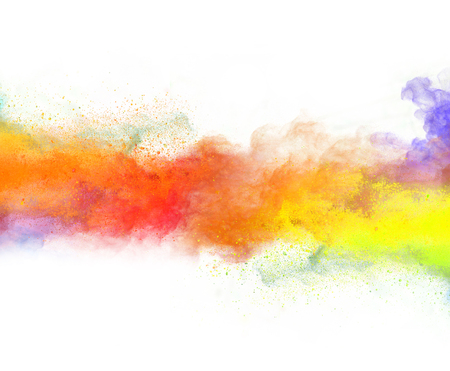 paint texture: Launched colorful powder, isolated on white background