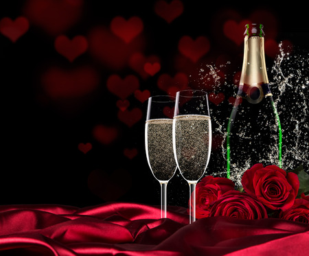 romantic dinner: Sparkling valentine day with champagne and roses, close-up.
