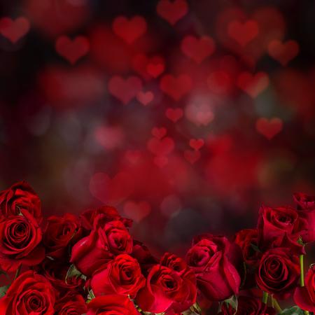 Red roses, Valentine background, romantic symbol.