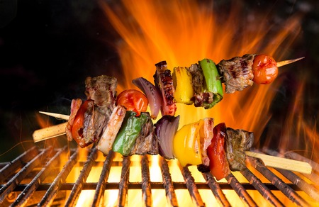 prawn skewers: Skewers on the grill, close-up. Stock Photo