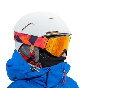 narciarz: Portret narciarz na białym tle.