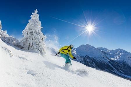 Freeride dans la neige poudreuse. Ski. Banque d'images - 51700454
