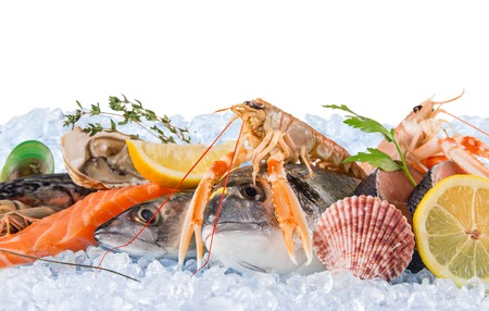 Fresh seafood on crushed ice, close-up.