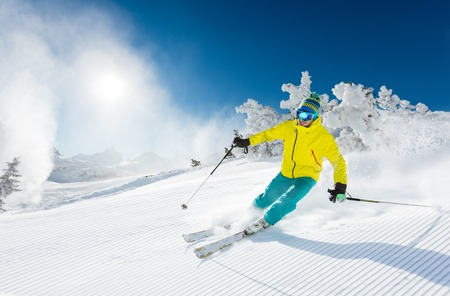 snow ski: Freeride in fresh powder snow. Skiing.