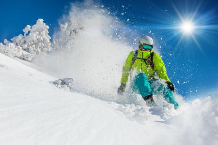 신선한 가루 눈에 프리 라이드. 스키 타기. 스톡 콘텐츠