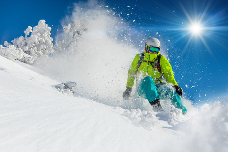 slalom: Freeride in fresh powder snow. Skiing.