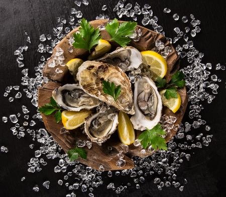 fish plate: Fresh oysters on a black stone plate top view