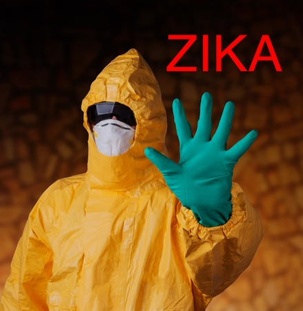 incubation: Zika virus concept, medical worker in protective clothes.
