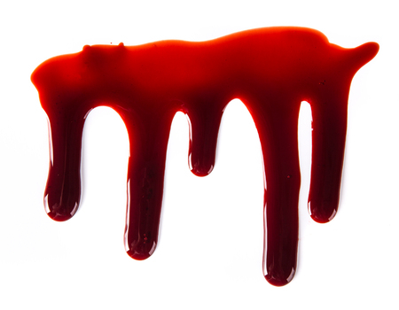blood splatter: Splattered blood stains on white background, close-up. Stock Photo
