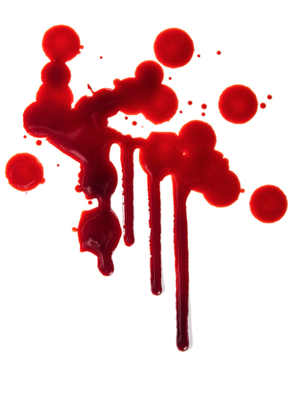 blood dripping: Splattered blood stains on white background, close-up. Stock Photo