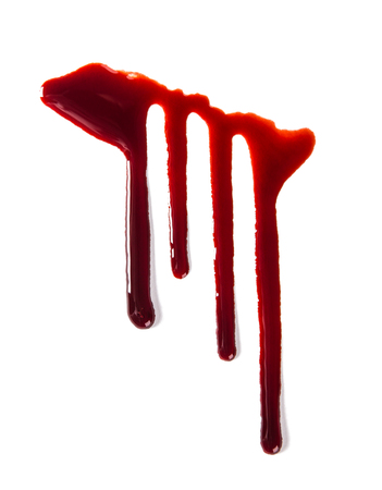 stain: Splattered blood stains on white background, close-up. Stock Photo