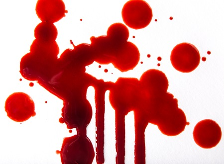 blood stain: Splattered blood stains on white background, close-up. Stock Photo