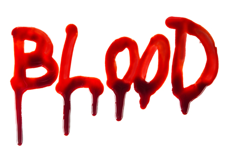 gore: Splattered blood stains on white background, close-up. Stock Photo