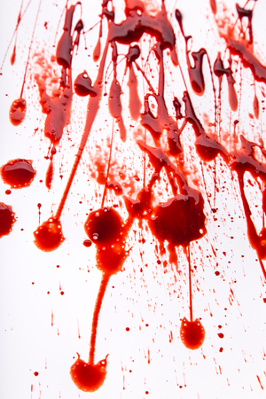 macabre: Splattered blood stains on white background, close-up. Stock Photo