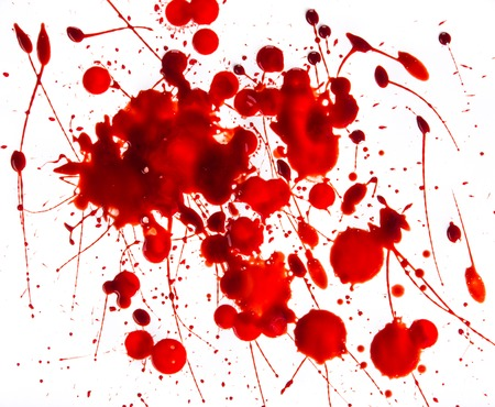 splattered: Splattered blood stains on white background, close-up. Stock Photo