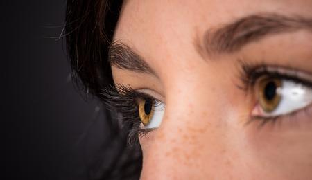 long eyelashes: Woman eyes with long eyelashes. Macro shot. Stock Photo