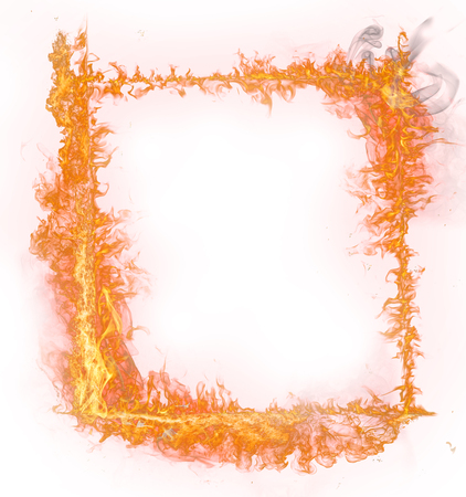 burn: Fire flames on white background, close-up.