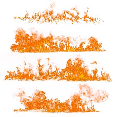 Fiamme del fuoco su sfondo bianco, close-up.