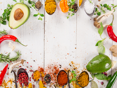 indian cookery: Various colorful spices on wooden table, top view.