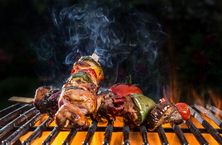 grilled chicken: Grilled skewers and vegetables. Garden barbegue.