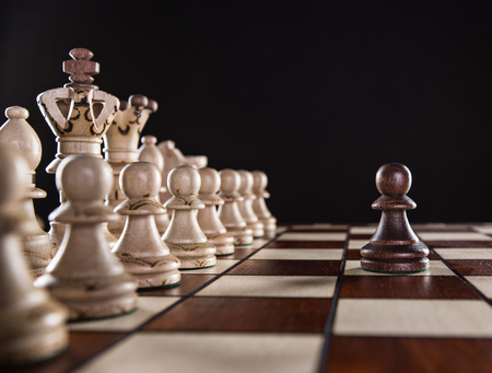 law: One pawn staying against full set of chess pieces, close-up.