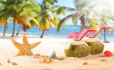 paradise beach: summer coconut cocktail on tropical beach. Summer paradise.