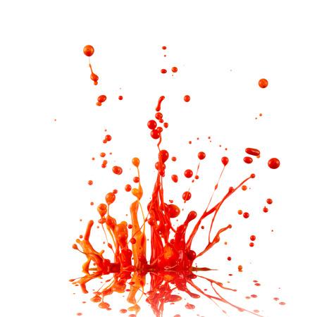white red: Colorful paint splashing isolated on white Stock Photo