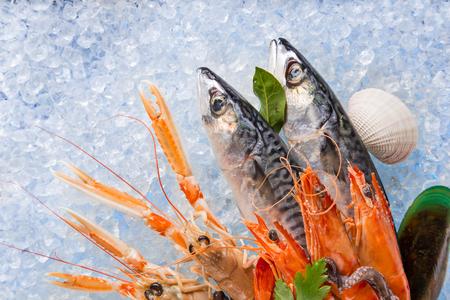 coger: pescados y mariscos frescos en hielo picado, primer plano.