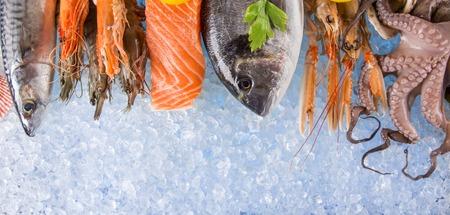 dorado fish: Fresh seafood on crushed ice, close-up.