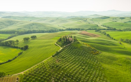Landscape of Tuscany, hills and meadows, Toscana - Italy, Europe. Stock Photo
