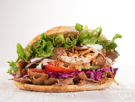close up of kebab sandwich on white background Stok Fotoğraf - 57750334