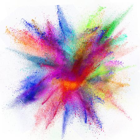 白い背景に分離色粉塵爆発のモーションをフリーズします。 写真素材