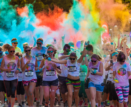 hosted: PRAGUE, CZECH REPUBLIC - JUNE 4: People attend the Color Run on June 4, 2016 in Prague, Czech rep. The Color Run is a worldwide hosted fun race with about 20000 competitors in Prague. Editorial