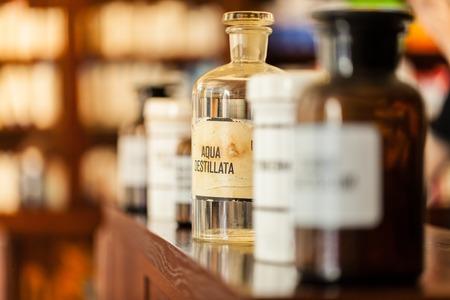 naturopath: Old vintage medicine bottles, medicine concept.