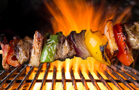 kabob: Tasty skewers on the grill, close-up.