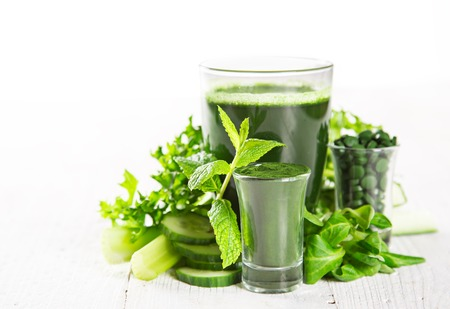 green vegetable: Healthy green vegetable smoothie, close-up.