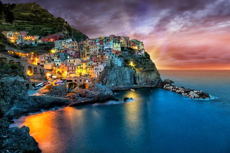 cinque terre: Manarola village on the Cinque Terre coast. of Italy.