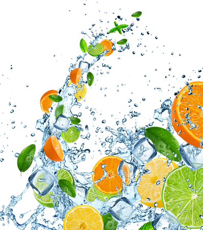 Fresh fruit in water splash over white, close-up. Stock Photo - 58916070