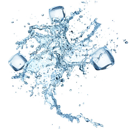 Water splash with ice cubes isolated on white background, close-up. Stock Photo