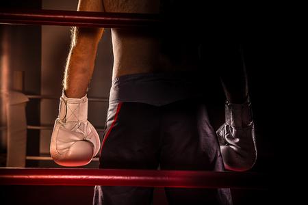 boxing match: boxing match, close-up photo. Stock Photo