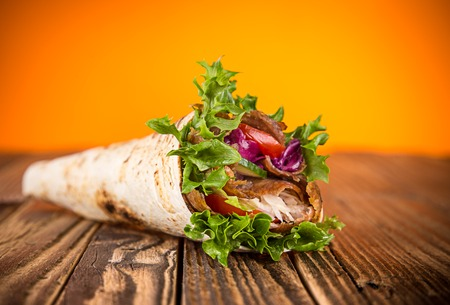 close up of kebab sandwich on white background Stock Photo - 62811222