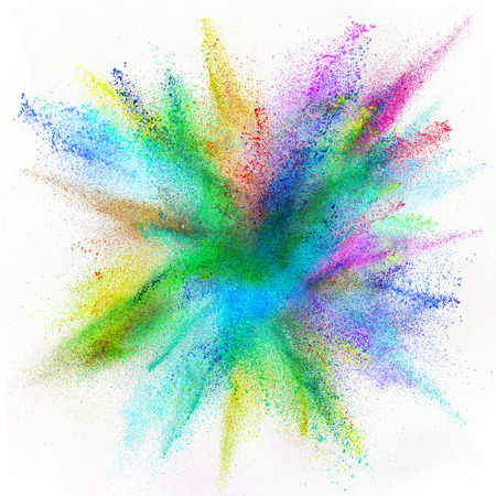 freeze: Freeze motion of colored dust explosion isolated on white background Stock Photo