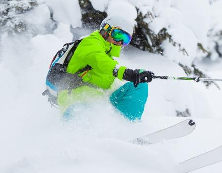 powder snow: Freeride in fresh powder snow. Skiing.